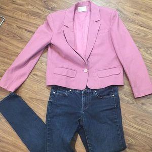Pendleton Mauve Pink Cropped Wool Blazer Jacket